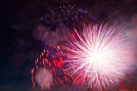 Photo pour colorful fireworks for abstract , anniversary, celebration and new year background . Great holiday of a great country. The celebration of Independence Day in the United States of America. 4th of July. - image libre de droit