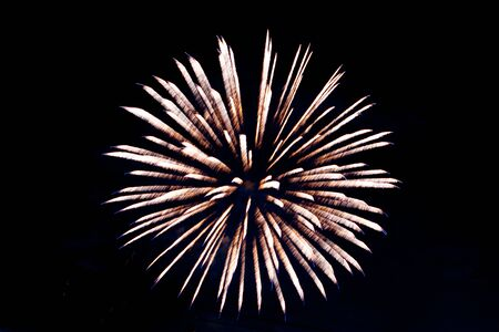 Photo pour Brightly colorful fireworks and salute of various colors - image libre de droit