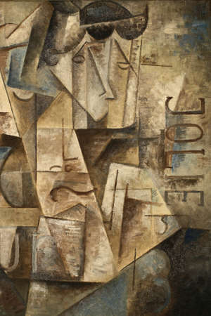 abstarct cubism oil painting jolie in blue and gray