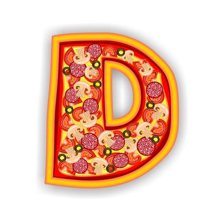 PIZZA - LETTER - D of the alphabet