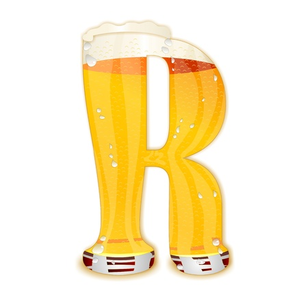 Very detailed illustration of a Beer Alphabet capital or uppercase font on white background showing a filled crystal glass with the letter R shape and some foam  Drops, pearls, bubbles