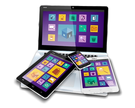 MOBILE DEVICES with flat design or metro design screen content on laptop, tablet pc, mini tablet or note pad and smartphone or cellphone