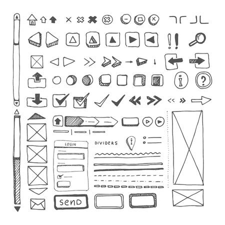 Illustration pour web site ellements sketch - image libre de droit