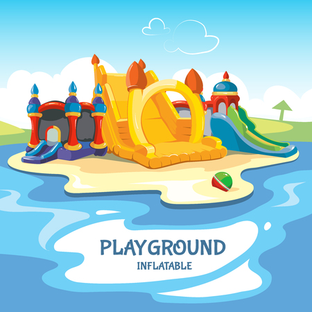 Vector illustration of inflatable castles and children hills on playground.