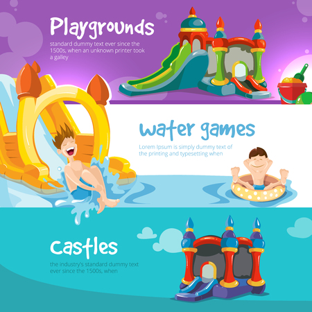 Vector illustration of inflatable castles and children water hills on playground. Set of web banners with picture of inflatable castles.
