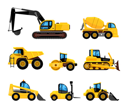 Illustration for Construct machines. Heavy machinery vehicles large buldozer bauean roller excavator concrete mixer and loader vector transport - Royalty Free Image