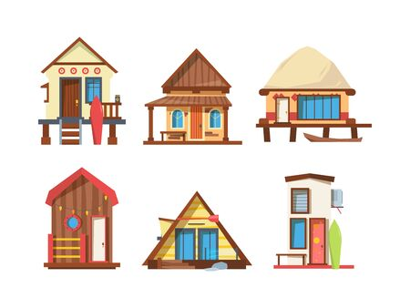 Illustration pour Traditional beach houses flat vector illustrations set - image libre de droit