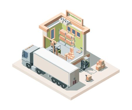 Illustration pour Warehouse building with truck and cargo isometric vector illustration - image libre de droit