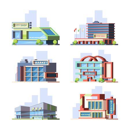 Photo pour City shops and malls flat vector illustrations set - image libre de droit