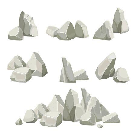 Illustration pour stones collection. different rocks elements from mountains. vector flat nature stones creation kit - image libre de droit