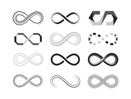 Ilustración de infinity sign. eternity abstract   icons of future graphic symbolism. vector illustrations templates isolated - Imagen libre de derechos