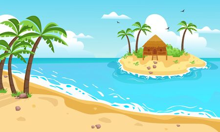 Illustration pour Tropical island with cottage. Yellow sandy beach with palm trees, in center an exotic islet with brown bungalows, sky with clouds and seagulls, blue ocean, bay with waves. Vector graphics flat. - image libre de droit