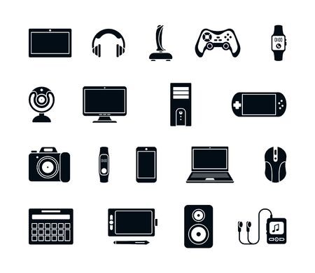 Illustration pour Electronic gadgets silhouette icons set. Stylish joystick modern laptop system unit gaming mouse gamepad mp3 player webcam smartphone stereo smart watches headphones speakers. Vector silhouette icon. - image libre de droit