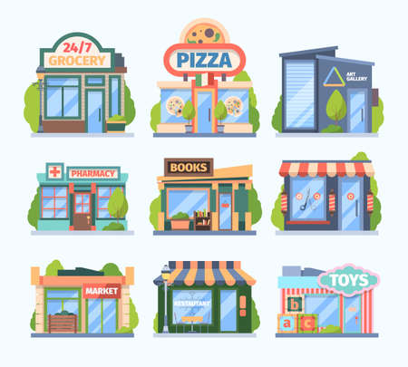 Illustration for Stores and market set. Facade colored shops pharmacies retail outlets book galleries toy store food medicine sales city boutiques with showcases awnings modern small buildings. Cartoon vector. - Royalty Free Image