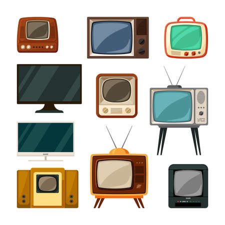 Illustration pour Modern and tube retro televisions set. Plasma smart gadgets and vintage brown tv with small screen old compact signal reception through antenna red built in radio and wood speakers. Vector watch. - image libre de droit