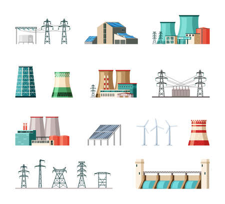 Illustration for Industrial and ecological electric power installations set. Powerful structures pipes fueled nuclear fuel and coal substation containers connected iron poles safe wind turbines. Cartoon vector. - Royalty Free Image