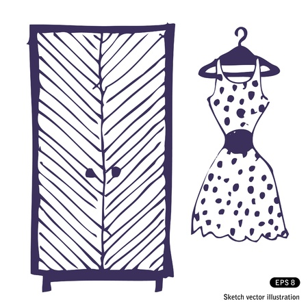 Dress and wardrobe. Hand drawn vector illustration