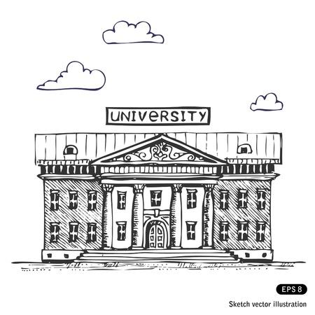 Illustration pour   University building  Hand drawn  - image libre de droit