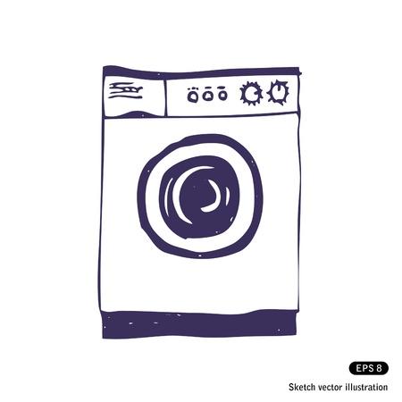 Washing machine  Isolated  Hand drawn
