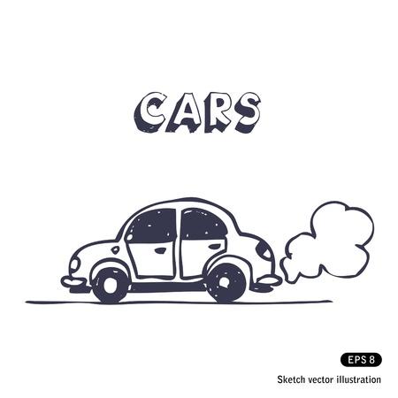 Cartoon car blowing exhaust fumes.