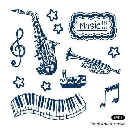 Music elements set  Hand drawn