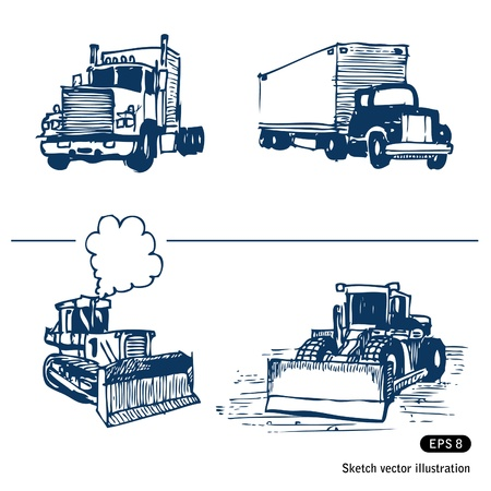 Trucks and bulldozers  Hand drawn vector isolated on white
