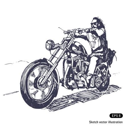 Illustration pour   Rider on a chopper.  - image libre de droit