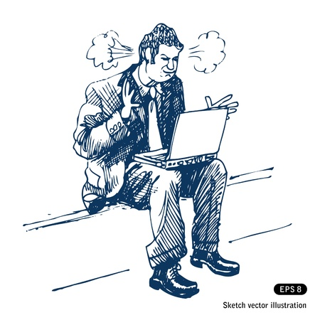 Stressed man sitting on step with laptop.