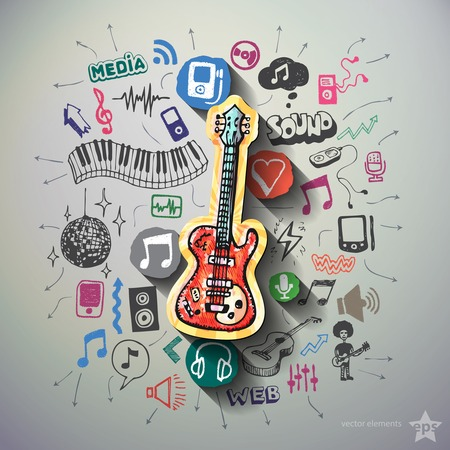 Music collage with icons background. Vector illustration