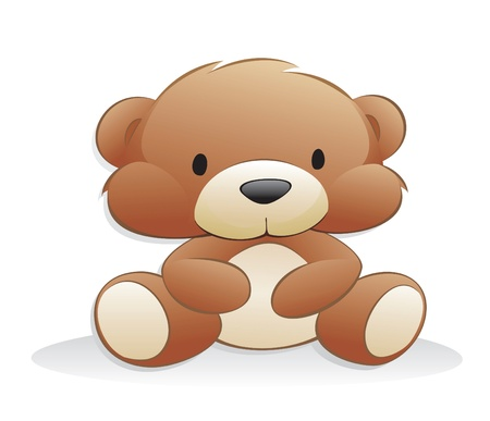 Cute cartoon teddy bear. Isolated objects for design element.