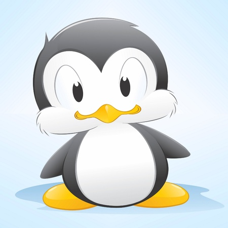 illustration of a cute cartoon penguin. Grouped and layered for easy editing