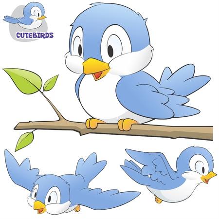 Ilustración de illustration of a set of cute cartoon birds.  - Imagen libre de derechos