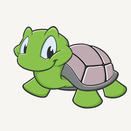 Vector illustration of a cutely smiling cartoon turtleのイラスト素材