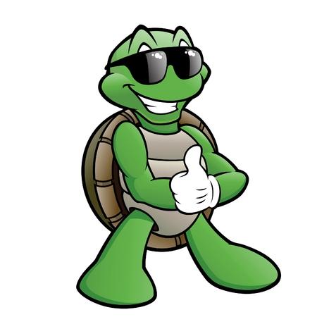 Illustration pour Cartoon turtle wearing sunglasses - image libre de droit