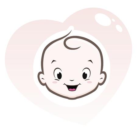 Foto de Cartoon baby face in heart shaped frame - Imagen libre de derechos
