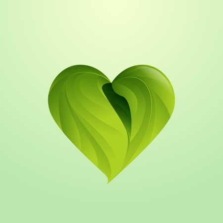 Green leaves form heart shaped icon, logo