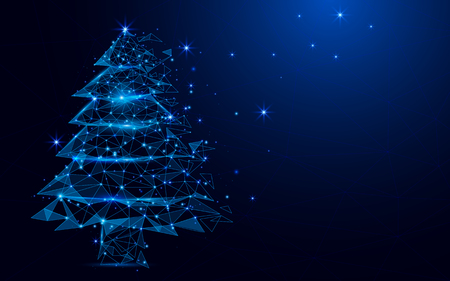 Photo for Wireframe A Christmas tree sign mesh from a starry on blue - Royalty Free Image
