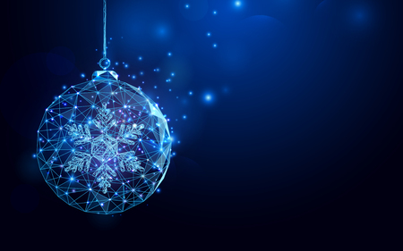 Ilustración de Low polygon Christmas ball wireframe mesh on dark blue background - Imagen libre de derechos
