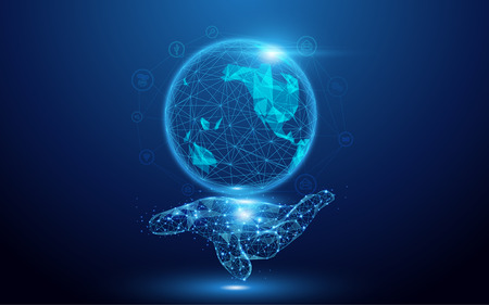 Illustration pour Wireframe A Globe Map with social icons on hand sign mesh from a starry on blue background - image libre de droit