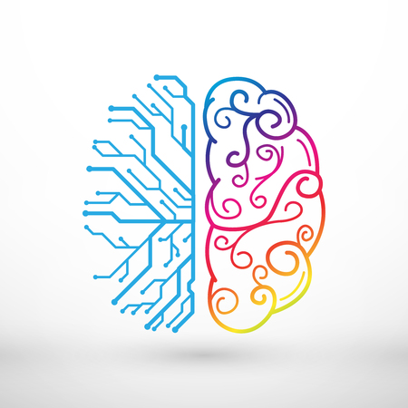 Illustration pour Abstract lines left and right brain functions concept, analytical vs creativity - image libre de droit
