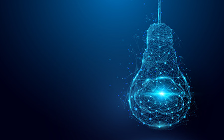 Illustration pour Brain in a light bulb from wire frames - image libre de droit