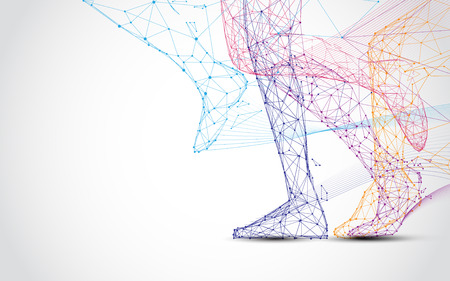 Photo pour Close up of runner s legs run form lines and triangles, point connecting network on blue background. Illustration vector - image libre de droit