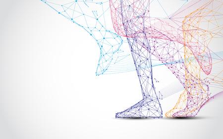 Ilustración de Close up of runner s legs run form lines and triangles, point connecting network on blue background. Illustration vector - Imagen libre de derechos