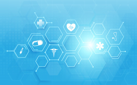 Ilustración de Medicine and science with abstract digital hi tech hexagons on blue background - Imagen libre de derechos
