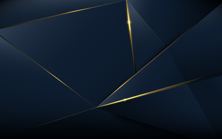 Illustration pour Abstract polygonal pattern luxury dark blue with gold - image libre de droit