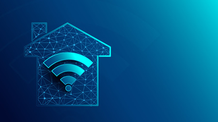 Illustration pour Smart house with WiFi icon icons from lines, triangles and particle style design. Illustration vector - image libre de droit