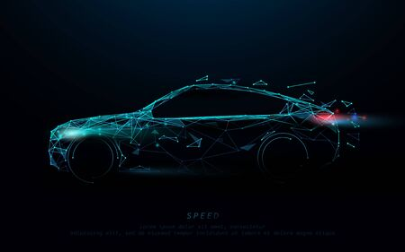 Photo pour Abstract futuristic high speed sports car. Car form lines, triangles and particle style design. Illustration vector - image libre de droit