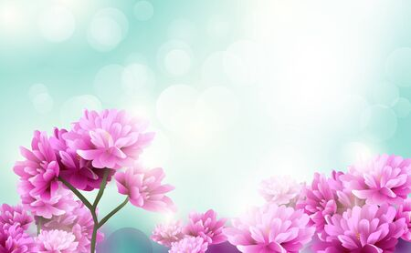 Illustration pour Beautiful pink flowers blooming on blue light bokeh background. Happy Valentines Day. Happy womens day - image libre de droit