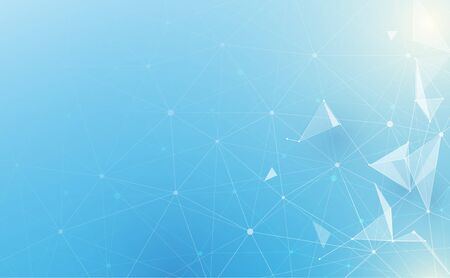 Illustration pour Abstract low polygonal with connecting dots and lines on soft blue background. Science and technology - image libre de droit