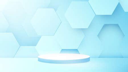 Illustration pour 3D podium composition with Abstract technology digital hi-tech hexagons background. Space for your design. Vector illustration - image libre de droit